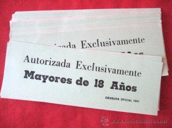 CENSURA OFICIAL 1958. MAYORES DE 18 AÑOS. LOTE DE 70 UNIDADES. .. ENVIO CERTIFICADO GRATIS¡¡¡ (Cine - Varios)