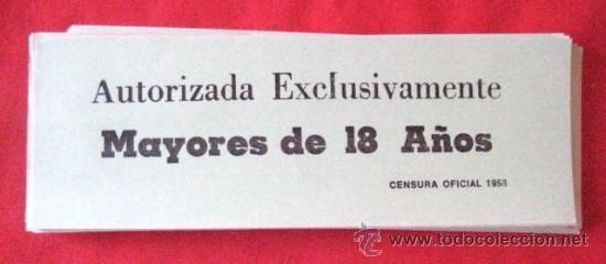 Cine: CENSURA OFICIAL 1958. MAYORES DE 18 AÑOS. LOTE DE 70 UNIDADES. .. ENVIO CERTIFICADO GRATIS¡¡¡ - Foto 2 - 29821299