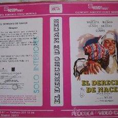 Cine: EL DERECHO DE NACER - CARATULA DE VIDEO ORIGINAL - AURORA BAUTISTA. Lote 30271659