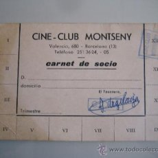 Cine: ANTIGUO CARNET DE SOCIO DEL CINECLUB MONTSENY DE BARCELONA. Lote 31215106