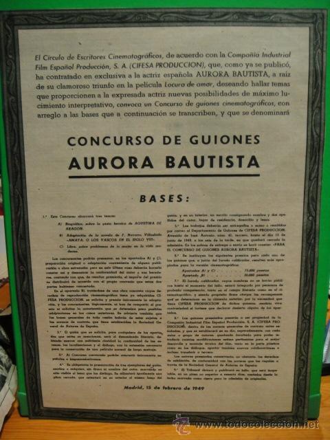 CONCURSO DE GUIONES AURORA BAUTISTA 1949 (Cine - Varios)