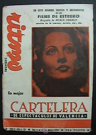 CARTELERA TURIA, AÑO 1, NUM. 12, DEL 4 AL 10 DE MAYO DE 1959, (Cine - Varios)