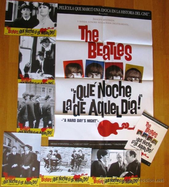 LOTE - ¡QUÉ NOCHE LA DE AQUEL DÍA! THE BEATLES - GUIA - POSTER - FOTOCROMOS - JOHN LENNON (Cine - Varios)
