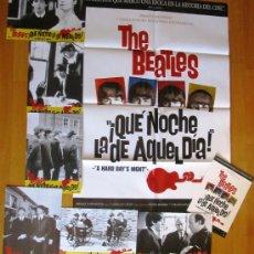 Cinema: LOTE - ¡QUÉ NOCHE LA DE AQUEL DÍA! THE BEATLES - GUIA - POSTER - FOTOCROMOS - JOHN LENNON. Lote 35774969