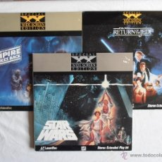 Cine: TRILOGIA STAR WARS LASER DISC SPECIAL WIDE SCREEN EDITION STEREO EXTENDED PLAY USA. Lote 40450760