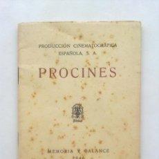 Cine: PRODUCCION CINEMATROGRAFICA ESPAÑOLA, PROCINES, MEMORIA Y BALANCE 1946. Lote 44389428