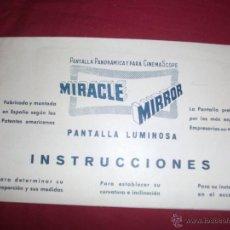Cine: CATALOGO DE INSTRUCCIONES PANTALLA PANORAMICA CINEMAS COPE - MIRRACLE MIRROR CON MUESTRA AÑOS 40. Lote 44639428