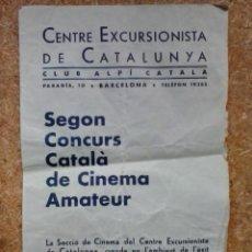 Cine: 2º CONCURS CATALÀ DE CINEMA AMATEUR (1933) / CENTRE EXCURSIONISTA CATALUNYA. CONCURSO CINE CATALUÑA.. Lote 47270148
