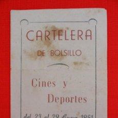 Cine: CARTELERA DE BOLSILLO CINES Y DEPORTES, DETENGAN A ESA RUBIA, ALHUCEMAS, 1951 REUS. Lote 47387599