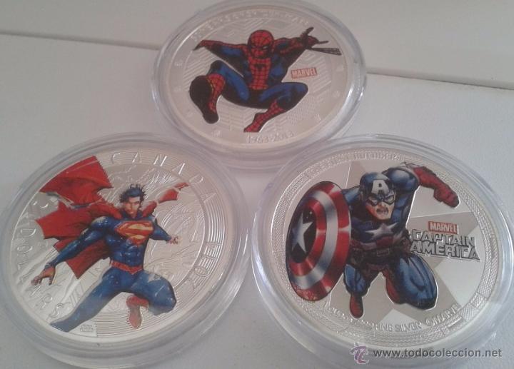 INTERESANTE LOTE 3 MONEDAS PLATA Y COLOR HEROES MARVEL SPIDERMAN SUPERMAN Y CAPITAN AMERICA (Cine - Varios)
