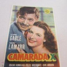 Cine: CAMARADA X PROGRAMA SENCILLO MGM CLARK GABLE HEDY LAMARR. Lote 58127230