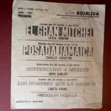 Cine: CINE ROSALEDA.SANTA ISABEL DE FERNANDO POO..1947. ..ENVIO INCLUIDO EN EL PRECIO.. Lote 59908247