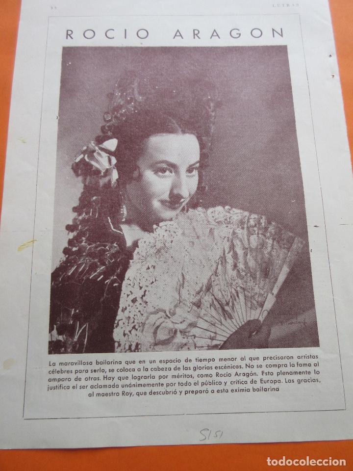 FOTO REVISTA 1951 - ROCIO ARAGON - 1 PAGINA (Cine - Varios)