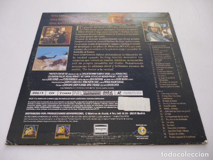 Cine: LASER DISC EN HONOR A LA VERDAD, con Denzel Washington y Meg Ryan. Guerra del Golfo. Laserdisc - Foto 2 - 67330193