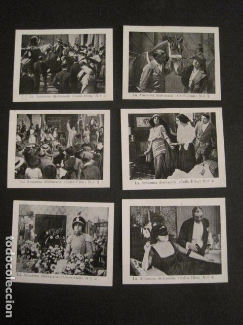 LA AMAZONA DISFRAZADA - CELIO FILM -COLEC.COMPLETA 6 FOTOTIPIAS -MED 7X9 CM-VER FOTOS - (V-8471) (Cine - Varios)