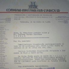 Cine: COMPAÑÍA INDUSTRIAL FILM ESPAÑOL - CIFESA- DISTRIBUCIÓN DE PELÍCULAS CINE VALENCIA. A NOVELDA 1951. Lote 81817060