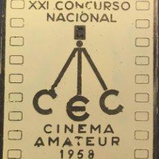 Cine: PLACA XXI CONCURSO NACIONAL DE CINEMA AMATEUR 1958. Lote 83394448