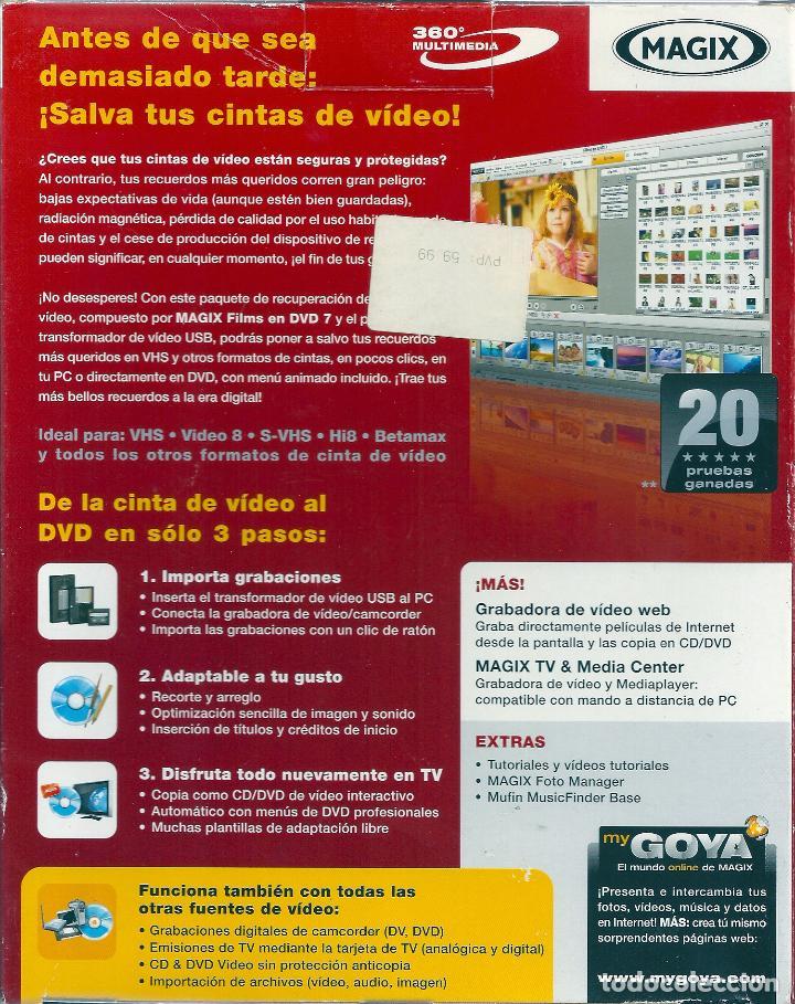 Cine: SOFTWARE DE GRABACION DE VIDEO (MAGIX).TODOS LOS FORMATOS DE VIDEO (VHS,BETAMAX,VIDEO 8, ETC) A DVD - Foto 5 - 83926256