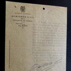 Cine: CINE / NORMATIVA SOBRE SERVICIO DE INCENDIOS EN LOCALES / GOBIERNO CIVIL / HUESCA 1940. Lote 89922556