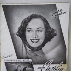 Cine: RECORTE PRENSA, FILM, TIEMPOS MODERNOS, 1937/38, CHARLES CHAPLIN Y PAULETTE GODDARD. Lote 90375420