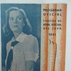 Cine: ANTIGUO PROGRAMA OFICIAL - CINEMA IDEAL -FIESTAS DE NUESTRA SEÑORA DEL TURA, OLOT -10 PAGINAS - 1941. Lote 90930010