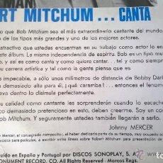 Cine: LP VINILO - ROBERT MITCHUM CANTA THAT MAN MONUMENT RECORD 1968 (DISTRIB.ESPAÑA Y PORTUGAL, SONOPLAY). Lote 52957368