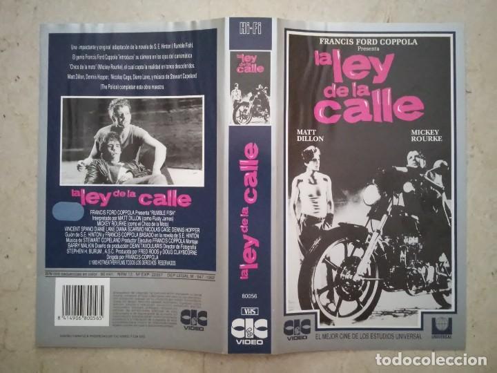 CARATULA ORIGINAL -A4- LA LEY DE LA CALLE - ARCHIVO MICKEY ROURKE - MATT DILLON (Cine - Varios)