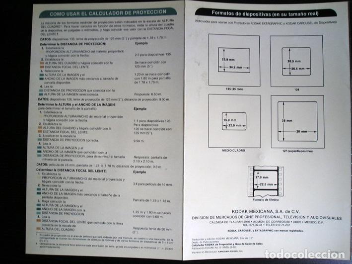 Cine: Calculador Kodak de proyección y guía de cupo de salas - Cuadríptico 1980 - Foto 9 - 100040107
