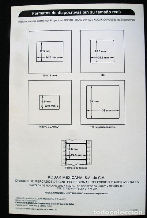 Cine: Calculador Kodak de proyección y guía de cupo de salas - Cuadríptico 1980 - Foto 10 - 100040107