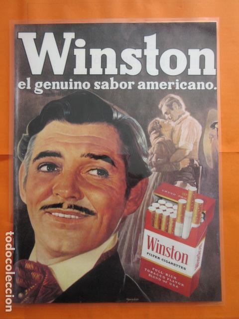 CARTEL - REPRODUCCION ANTIGUA PUBLICIDAD TABACO WINSTON CARK GABLE 29 X 43 (INC.MARG.APROX. ) (Cine - Varios)