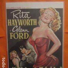 Cine: CARTEL - REPRODUCCION PUBLICIDAD L'AFFAIRE TRINIDAD GILDA RITA HAYWORTH 29 X 43 (INC.MARG.APROX. ). Lote 107302743