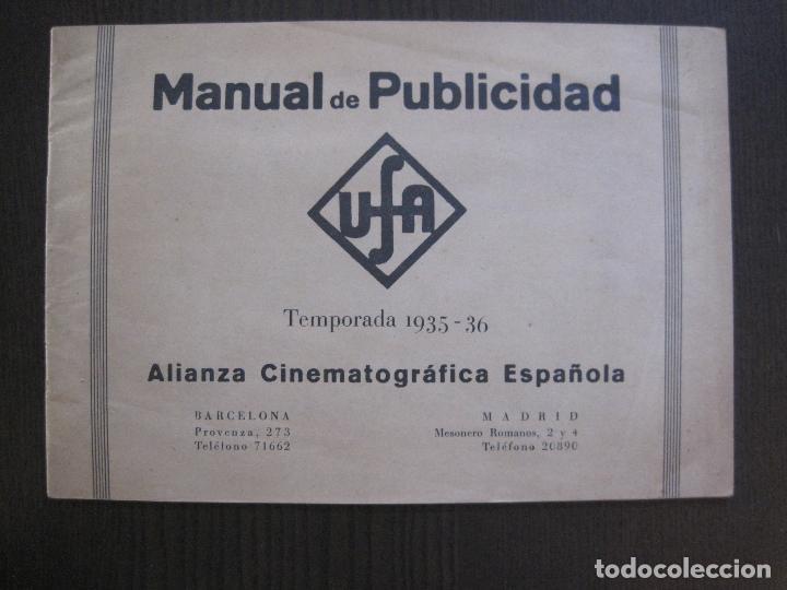 MANUAL PUBLICIDAD UFA -ALIANZA CINEMATOGRAFICA ESPAÑOLA -AÑO 1935- 36 -VER FOTOS-(V-13.753) (Cine - Varios)