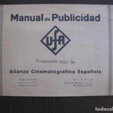 Cine: MANUAL PUBLICIDAD UFA -ALIANZA CINEMATOGRAFICA ESPAÑOLA -AÑO 1935- 36 -VER FOTOS-(V-13.753). Lote 114798639