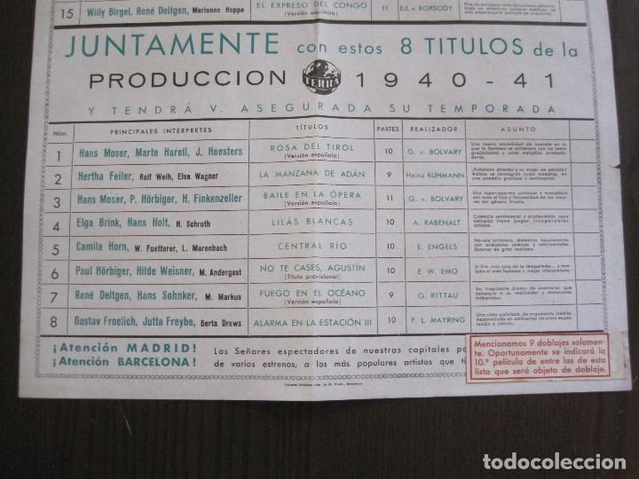 Cine: PUBLICIDAD UFA -ALIANZA CINEMATOGRAFICA ESPAÑOLA-PELICULAS AÑO 1940-41 -VER FOTOS-(V-13.755) - Foto 7 - 114801591