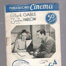 Cine: PUBLICACIONES CINEMA. Nº 26. SARATOGA. CLARK GABLE Y JEAN HARLOW.. Lote 115051535