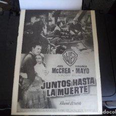 Cine: HOJA ORIGINAL REVISTA,CON PUBLICIDAD DE PELICULA DE CINE. JUNTOS HASTA LA MUERTE.. Lote 115219207