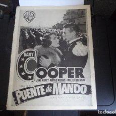Cine: HOJA ORIGINAL REVISTA,CON PUBLICIDAD DE PELICULA DE CINE. PUENTE DE MANDO.. Lote 115219851