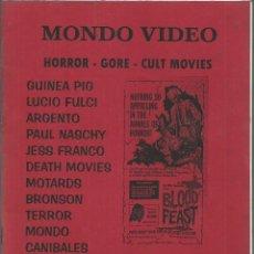Cine: CATALOGO MONDO VIDEO, HORROR, GORE CULT MOVIES. OTOÑO 2001. FULCI, ARGENTO NASCHY, CANIBALES.. Lote 115290835
