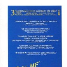 Cine: CALL ME BY YOUR NAME, CON ARMIE HAMMER. MARCAPÁGINAS.. Lote 195049905