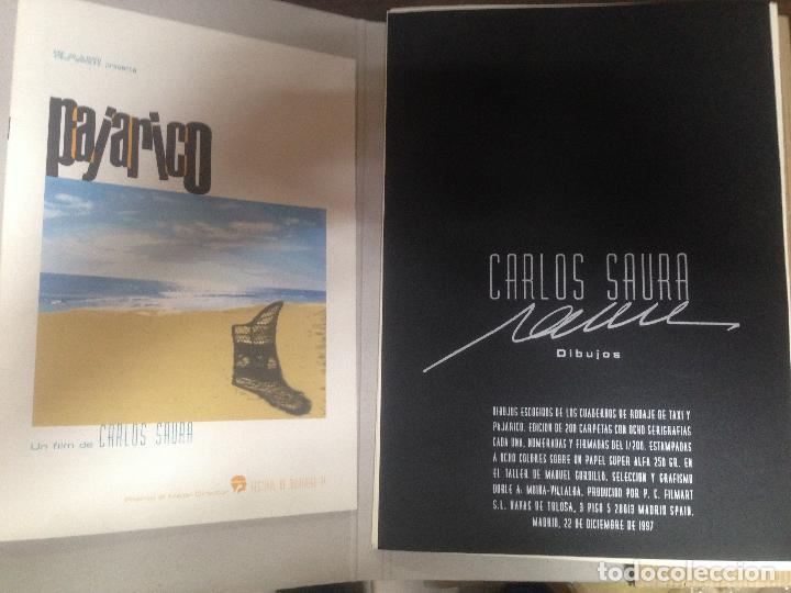 Cine: INCREIBLE Y ESCASA CARPETA CON 8 DIBUJOS SERIGRAFIAS CARLOS SAURA PAJARICO Y TAXI FIRMADAS FECHADAS - Foto 2 - 125317067