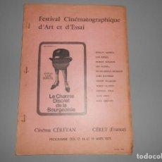 Cine: PROGRAMA FESTIVAL CINEMATOGRÁFICO DE ARTE Y ENSAYO --CÉRET (FRANCE) 1973. Lote 131425622