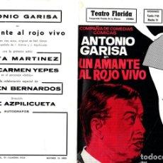 Cine: DIPTICO PUBLICITARIO ANTONIO GARISA EN UN AMANTE AL ROJO VIVO. TEATRO FLORIDA. VITORIA, ALAVA. 1970. Lote 133626813