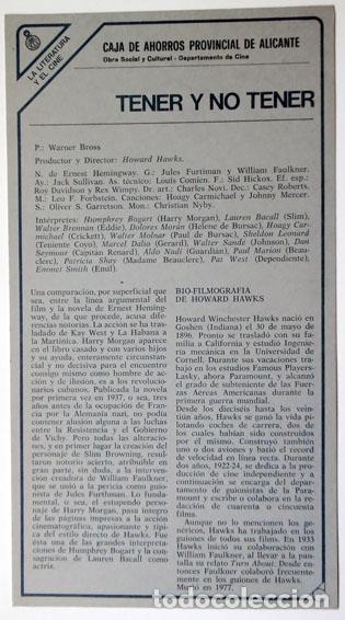 FICHA TÉCNICA LA LITERATURA Y EL CINE. TENER O NO TENER CAJA AHORROS PROVINCIAL ALICANTE AÑOS 80 (Cine - Varios)