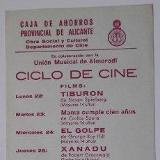 Cine: CICLO CINE GUARDAMAR DEL SEGURA ALICANTE 1983 CAJA AHORROS PROVINCIAL. Lote 137900598