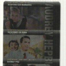 Cine: DVD (3 PELICULAS): COLECCION AUDREY HEPBURN - DESAYUNO CON DIAMANTES, VACACIONES EN ROMA, GUERRA.... Lote 140301462