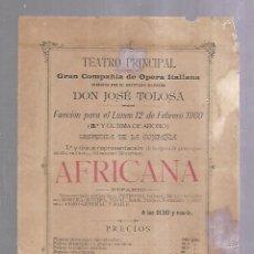 Cine: TEATRO PRINCIPAL. PUERTO SANTA MARIA. 1900. JOSE TOLOSA. AFRICANA. PRECIOS. 16 X 22CM. Lote 140857326
