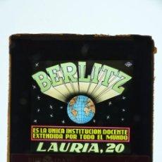 Cine: BERLITZ INSTITUCION DOCENTE - PUBLICIDAD EN CRISTAL PARA EL CINE, EN VALENCIA, AÑOS 1960. Lote 143182990