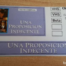 Cine: PEGATINA CINE PELICULA -- UNA PROPOSICION INDECENTE - DEMI MOORE- ROBERT REDFORD. Lote 145806730