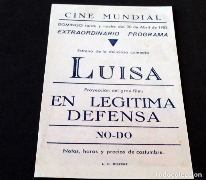 Cine: PROGRAMA DE CINE - FOLLETOS DE MANO (VER FOTOS) LUISA - CINE MUNDIAL DE LA BISBAL - AÑO 1952 - Foto 2 - 151147098