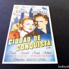 Cine: PROGRAMAS DE CINE - FOLLETOS DE MANO - CIUDAD DE CONQUISTA - CINE OLYMPIA DE LA BISBAL. Lote 151320934